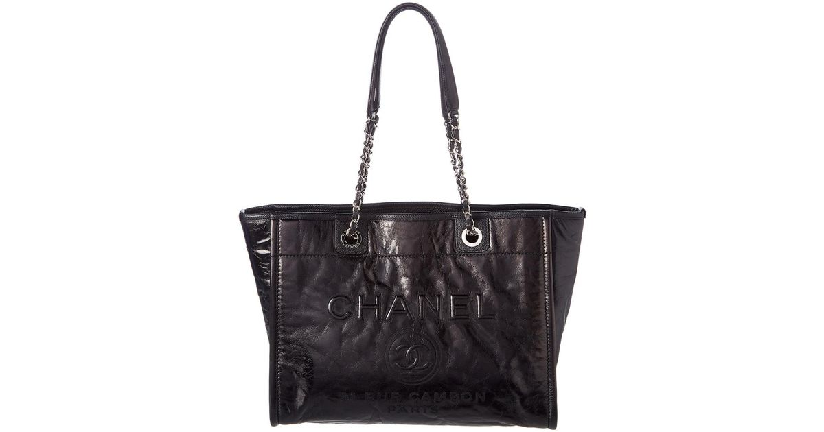 17f94db4dfd1 Chanel Black Glazed Calfskin Leather Large Deauville Tote in Black - Lyst