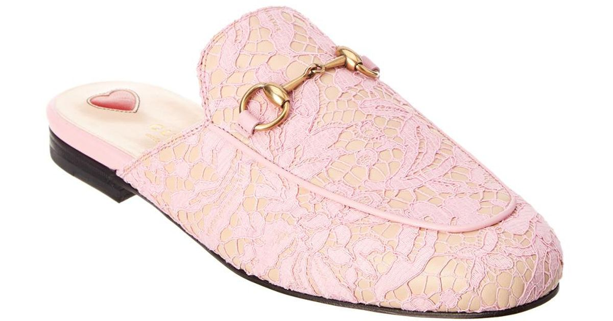 5f1990703 Lyst - Gucci Princetown Leather & Lace Mule Slipper in Pink