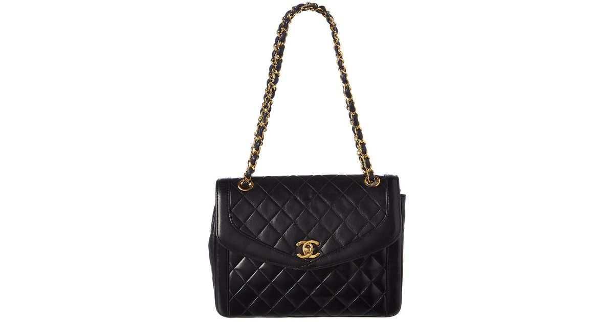 c194268a5747 Chanel Black Quilted Lambskin Leather Small Round Flap Bag in Black - Lyst