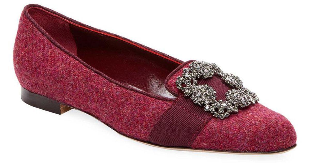 bdafefc2114e Lyst - Manolo Blahnik Wool Flat in Red