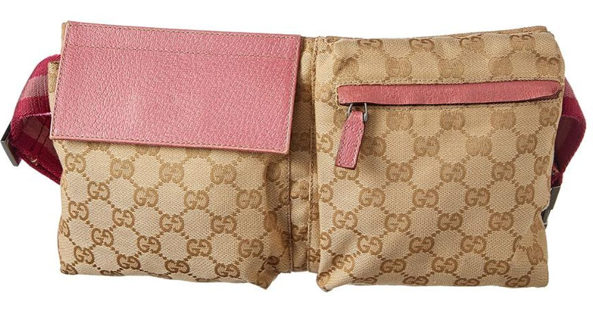 bc652764cc1d63 Gucci Gg Supreme Canvas & Pink Leather Waist Pouch - Lyst