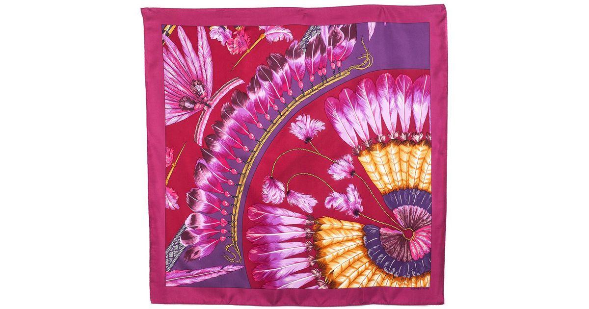71ac3a38 ireland lyst hermès feather print silk scarf in pink 5f239 d0734
