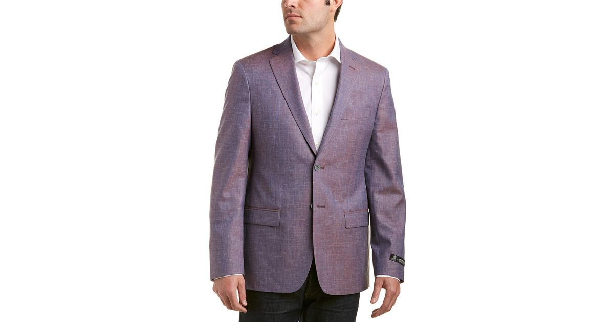 Austin Reed Wool Silk Linen Blend Sportcoat In Blue For Men Lyst