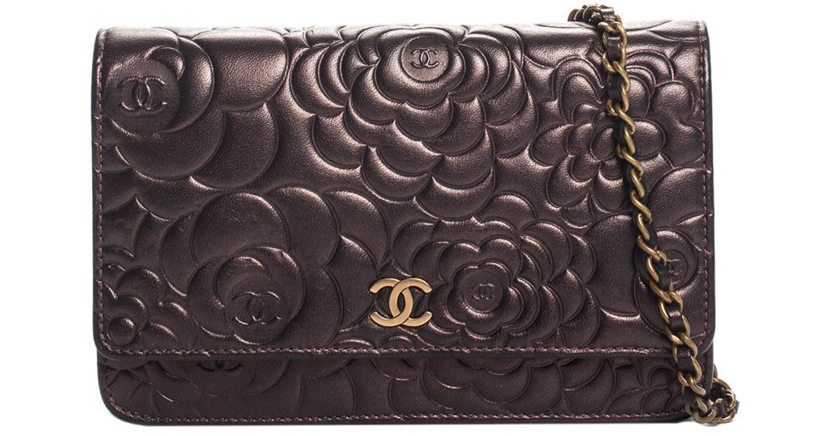 lyst chanel bronze metallic embossed leather camellia wallet on chain in  metallic b5b3adc3e6