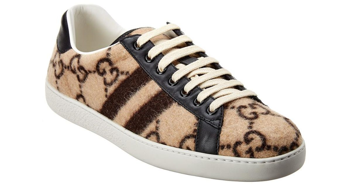 Gucci Ace GG Wool Sneaker in Brown for