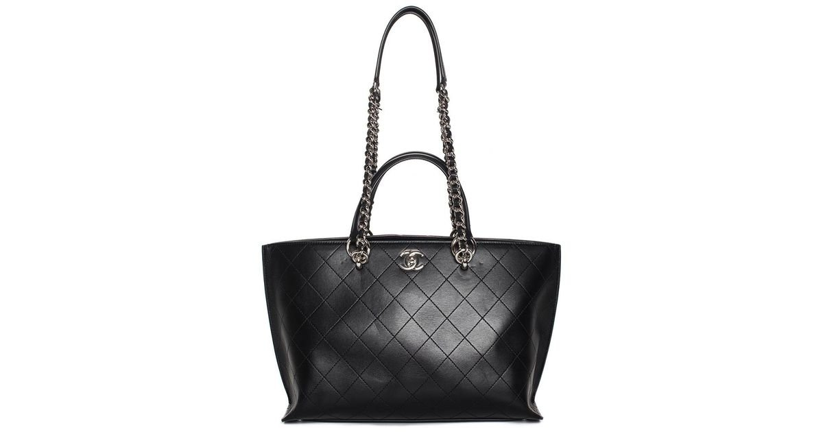 887db9c46239 Lyst - Chanel 2017 Black Quilted Bullskin Leather Trapeze Shopper Tote in  Black