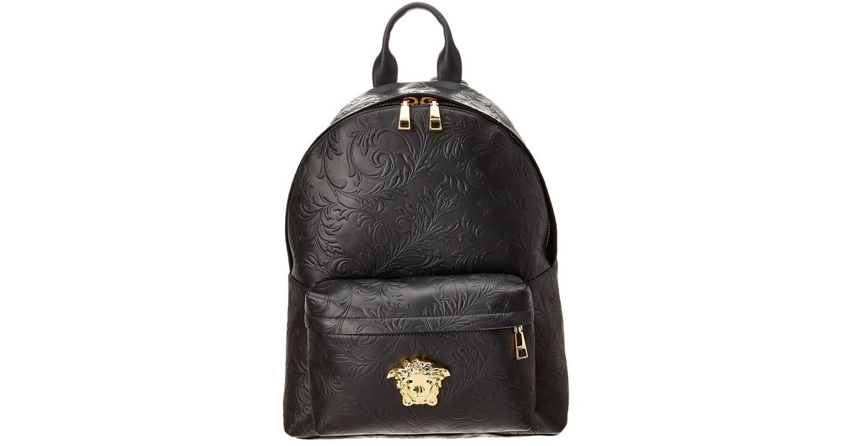 6962d9ac60d8 Lyst - Versace Barocco Embossed Leather Backpack in Black for Men