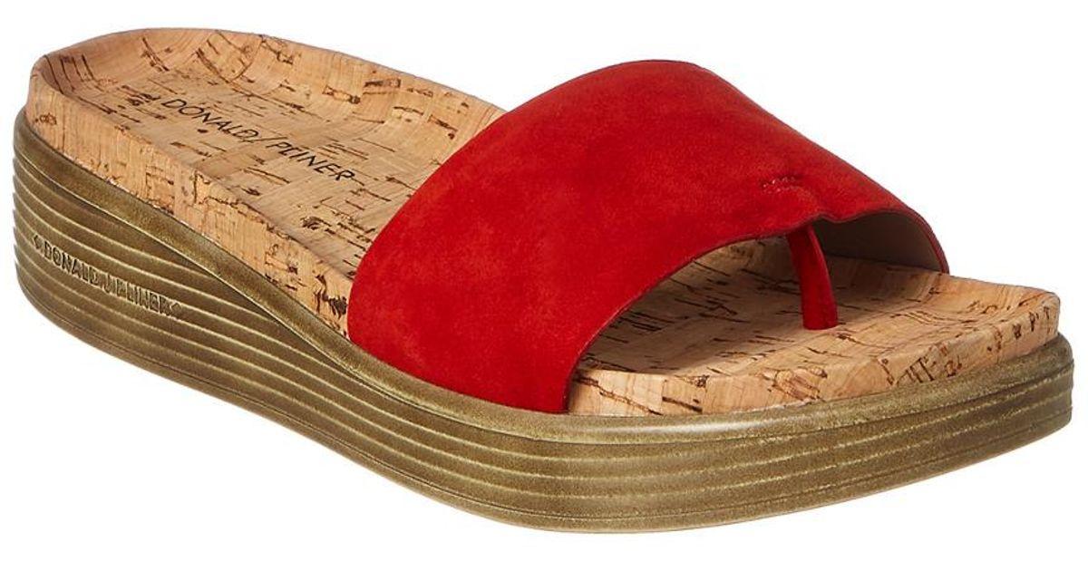 5b2af6cf425 Lyst - Donald J Pliner Fiji Suede Sandal in Red
