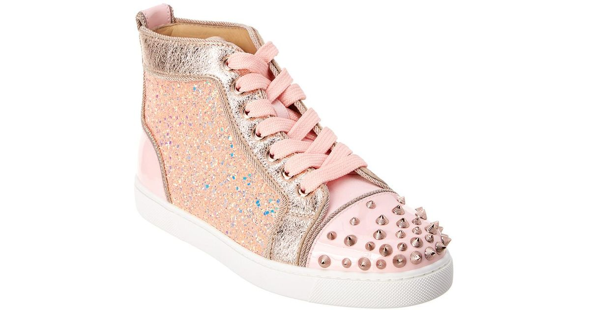 purchase cheap ad5ce 5c822 Christian Louboutin Pink Lou Degra Spikes Leather Sneaker