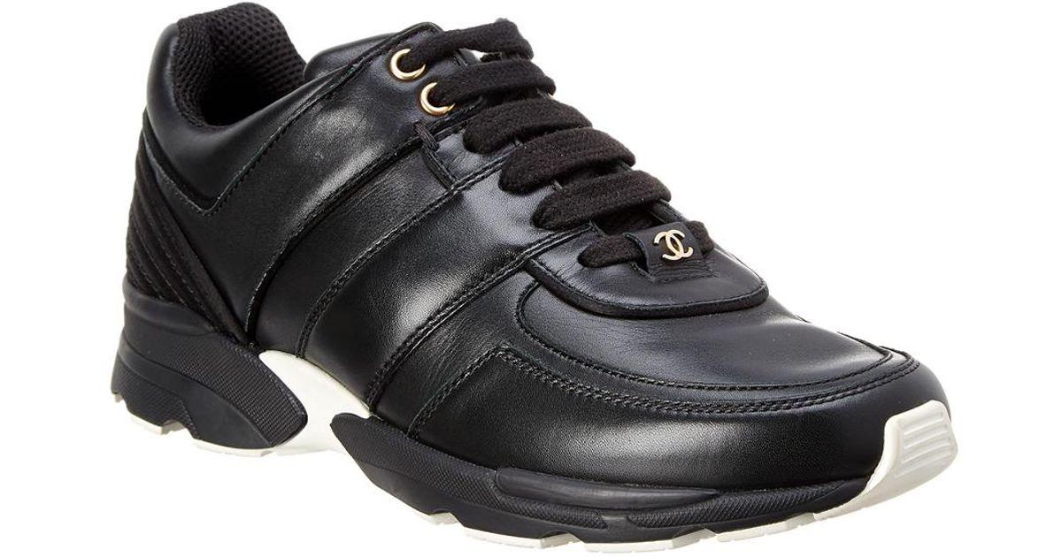 Chanel Leather Sneaker in Black for Men