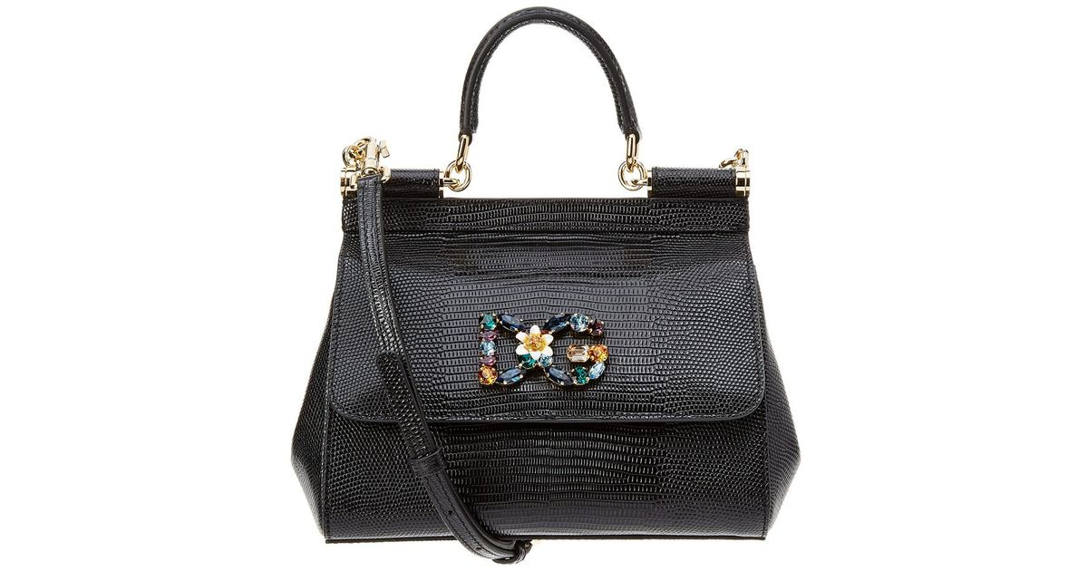 Dolce   Gabbana - Black Sicily Iguana Print Logo Leather Satchel - Lyst b2ba930cb79