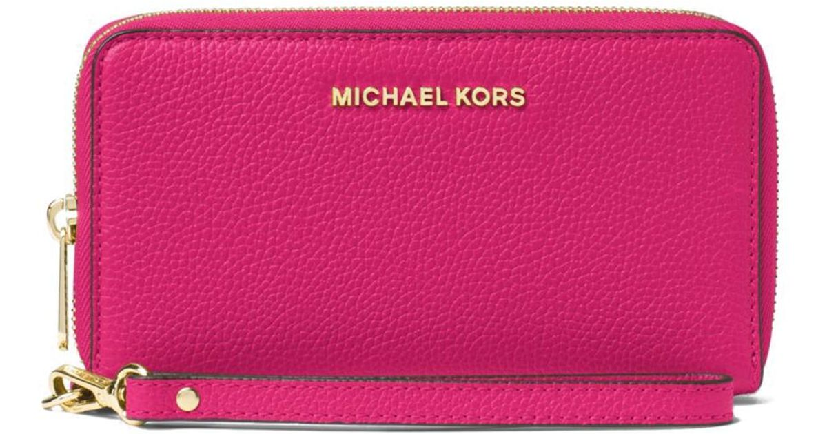 053f9faba185 MICHAEL Michael Kors Mercer Large Flat Multi Function Phone Case in Pink -  Lyst