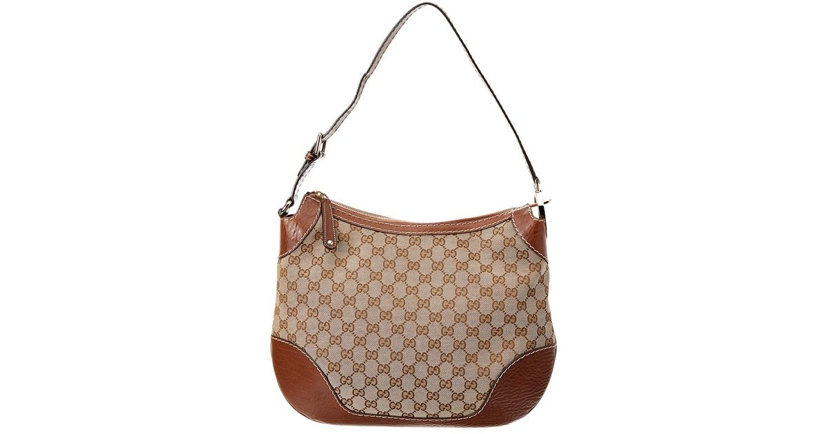 3d8af7464 Lyst - Gucci Brown Gg Supreme Canvas & Leather Charlotte Medium Hobo Bag in  Brown