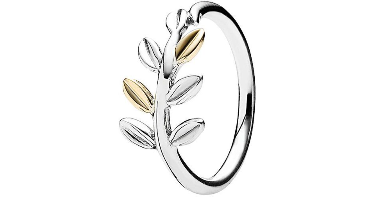 2c0d25864 PANDORA 14k & Silver Laurel Leaves Ring in Metallic - Lyst