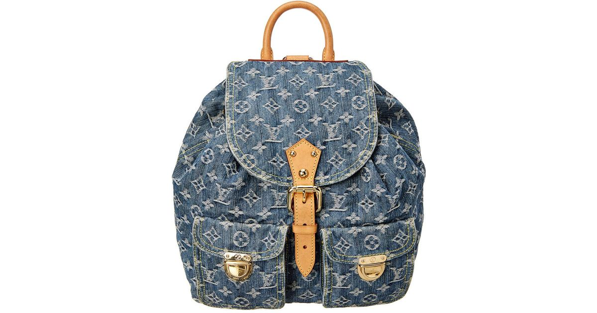 site réputé c6608 6dc9a Louis Vuitton Blue Monogram Denim Sac A Dos Mm