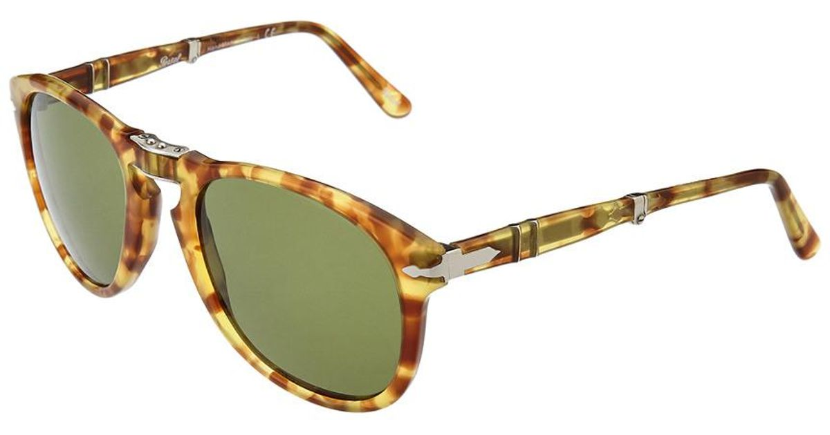 Persol Men/'s PO714 PO-714 24//31 Havana//Silver-Logo Folding Pilot Sunglasses 54mm
