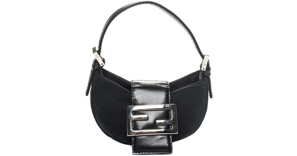 0a7f909d Fendi Black Nylon Mini Crescent Hobo Bag