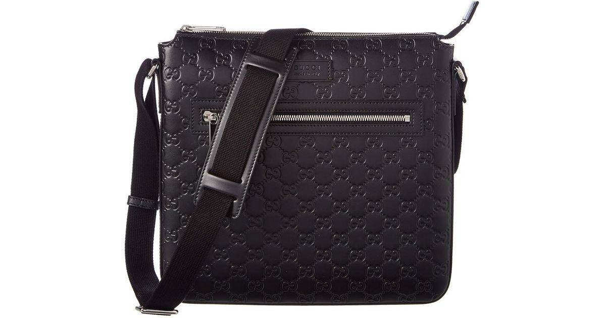 9bcdb8f6c56 Lyst - Gucci Signature Leather Messenger Bag in Black