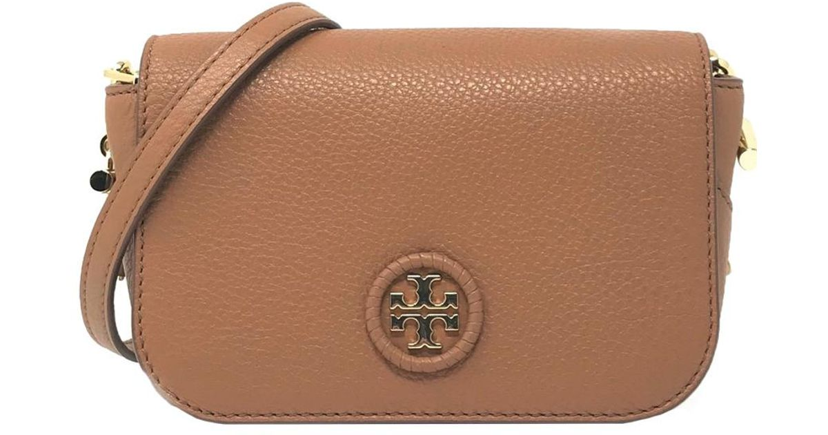 0820b372af4 Tory Burch Whipstitch Leather Logo Mini Bag in Brown - Lyst