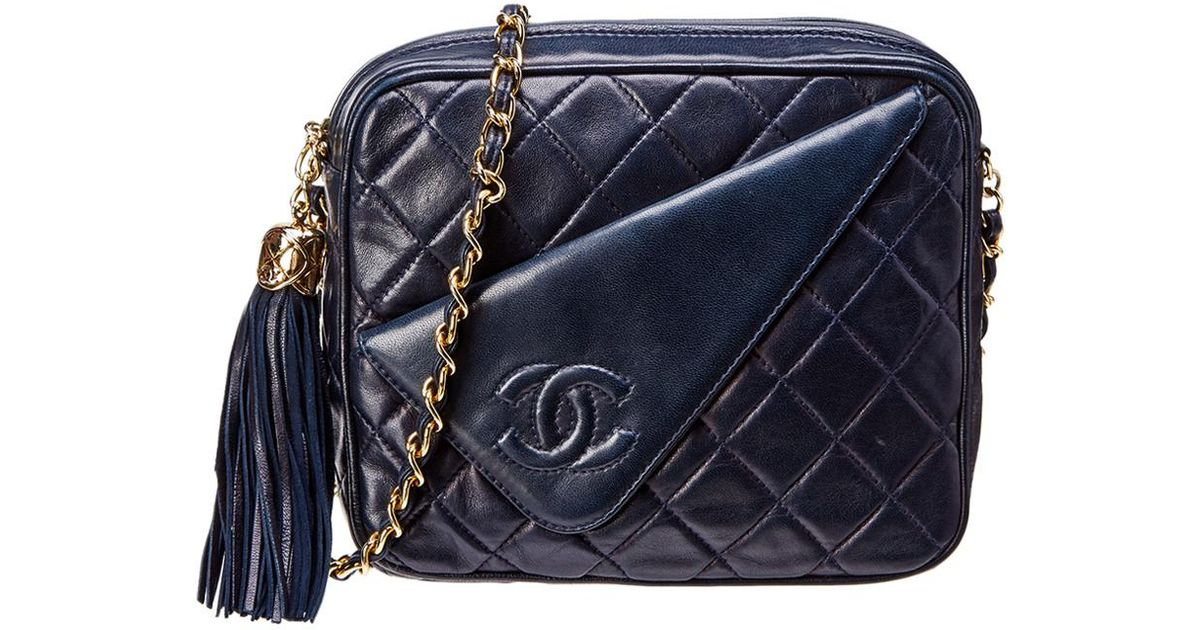 b33410495132 Chanel Navy Quilted Lambskin Leather Camera Bag in Blue - Lyst
