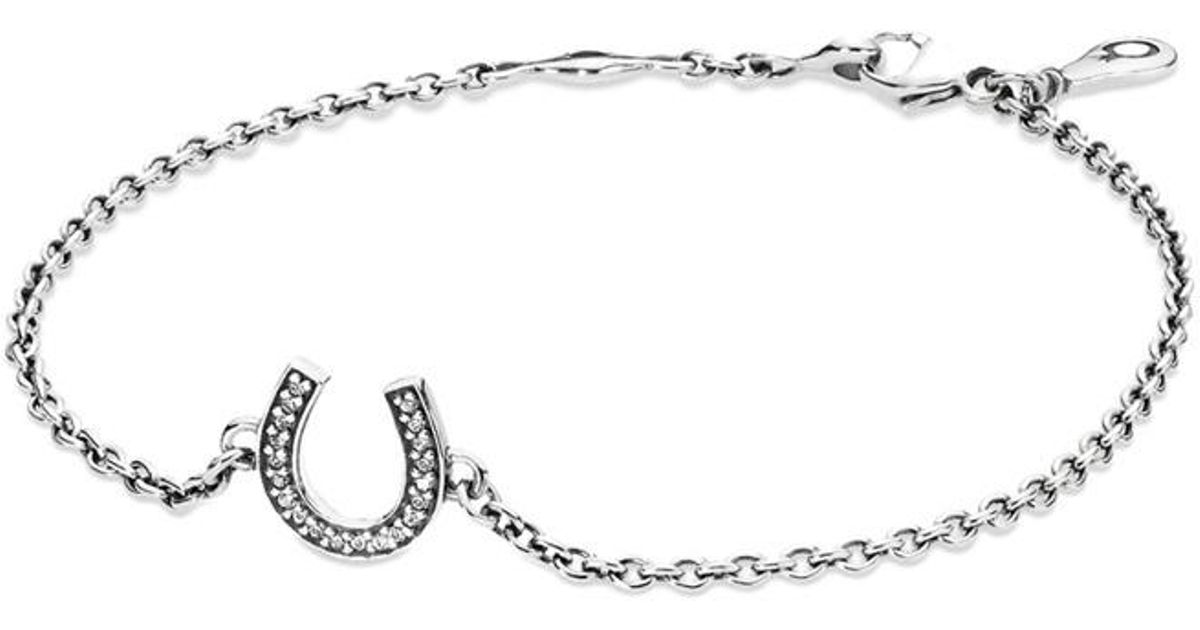 Lyst Pandora Symbol Of Luck Silver Cz Horseshoe Bracelet In Metallic