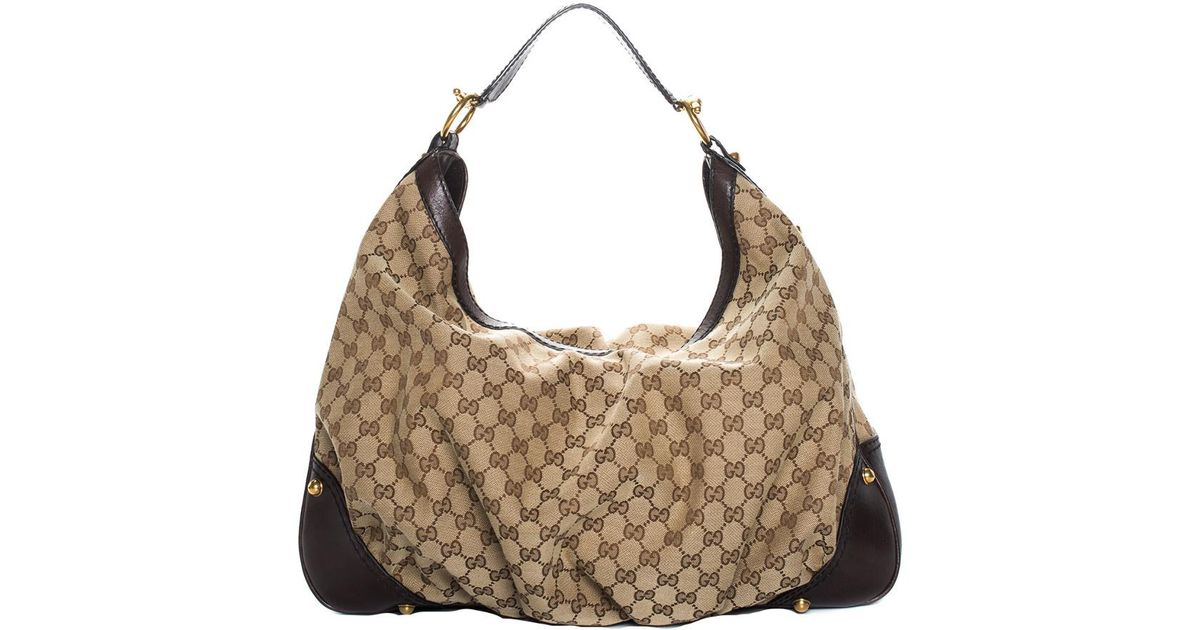 Lyst - Gucci Brown GG Canvas   Leather Jockey Hobo Bag in Brown a3fbe1f21871c