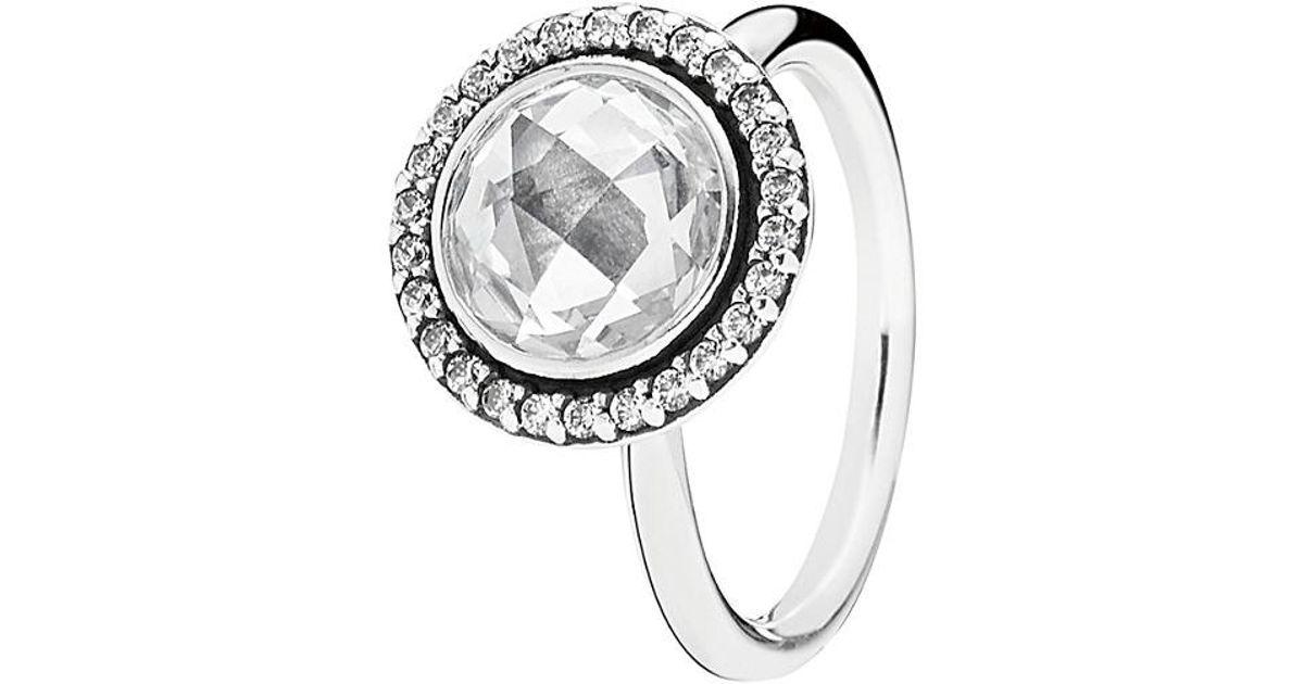 9c86ee837 Lyst - Pandora Silver Cz Brilliant Legacy Ring in Metallic