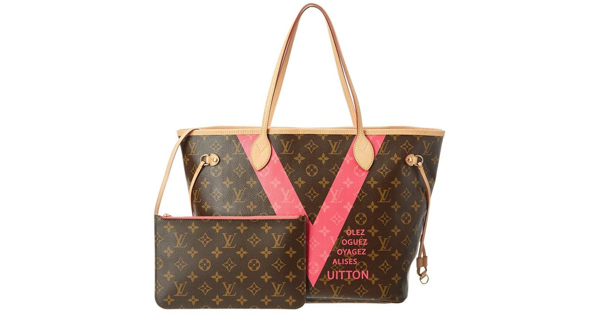 5b5b864e44c6 Lyst - Louis Vuitton Limited Edition Grenade Pink V Monogram Canvas Neverfull  Mm