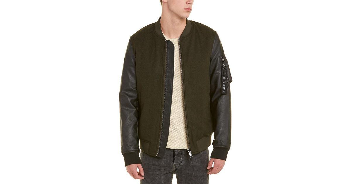 Lyst - Armani Exchange Wool-blend Bomber Jacket in Black for Men 257e66c0c