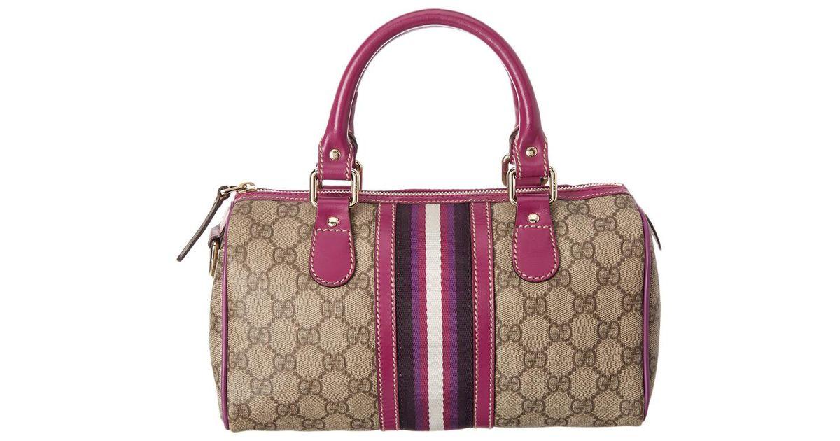 lyst gucci brown gg supreme canvas small joy boston bag