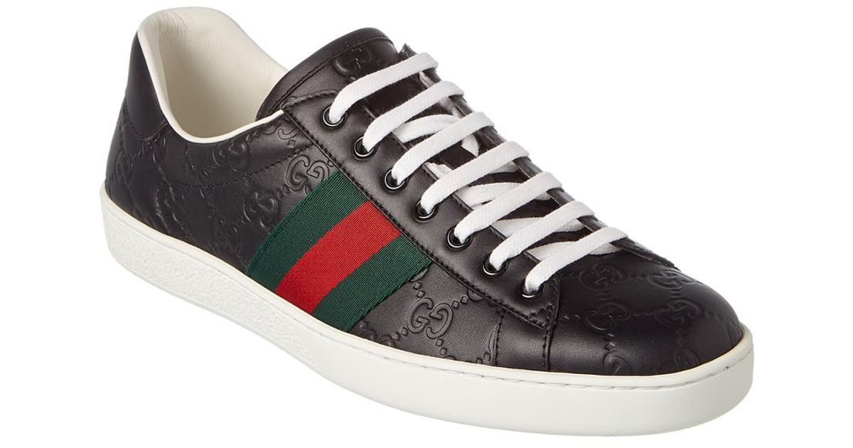Gucci Ace Signature Leather Sneaker for