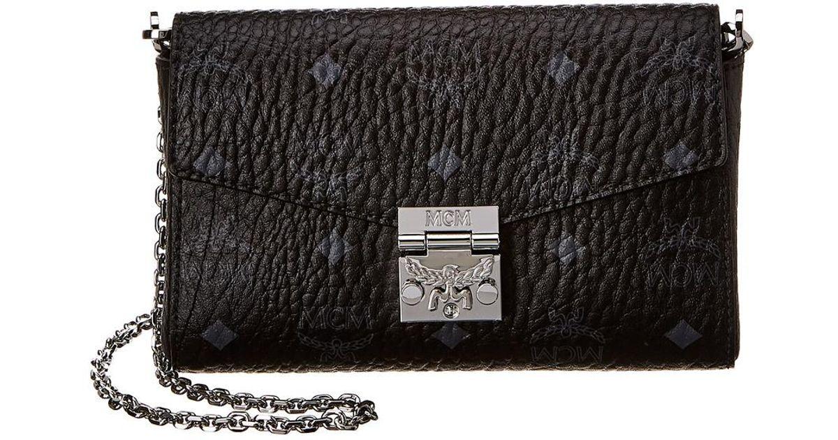 f650ae9ce77 MCM - Black Mallie Flap Wallet On Chain - Lyst