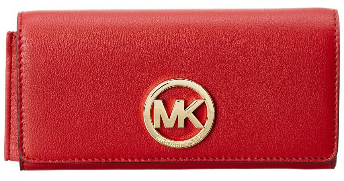 c32dbbc2c788 Lyst - MICHAEL Michael Kors Fulton Leather Carryall Wallet in Red