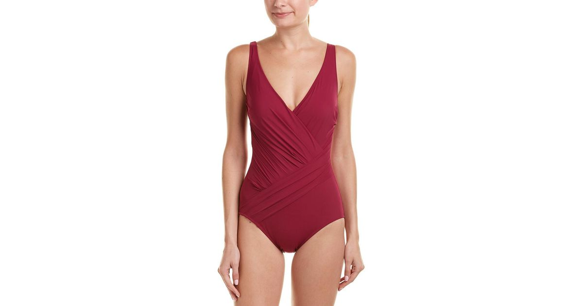 73b497fc136c8 Lyst - Gottex Landscape One-piece in Red