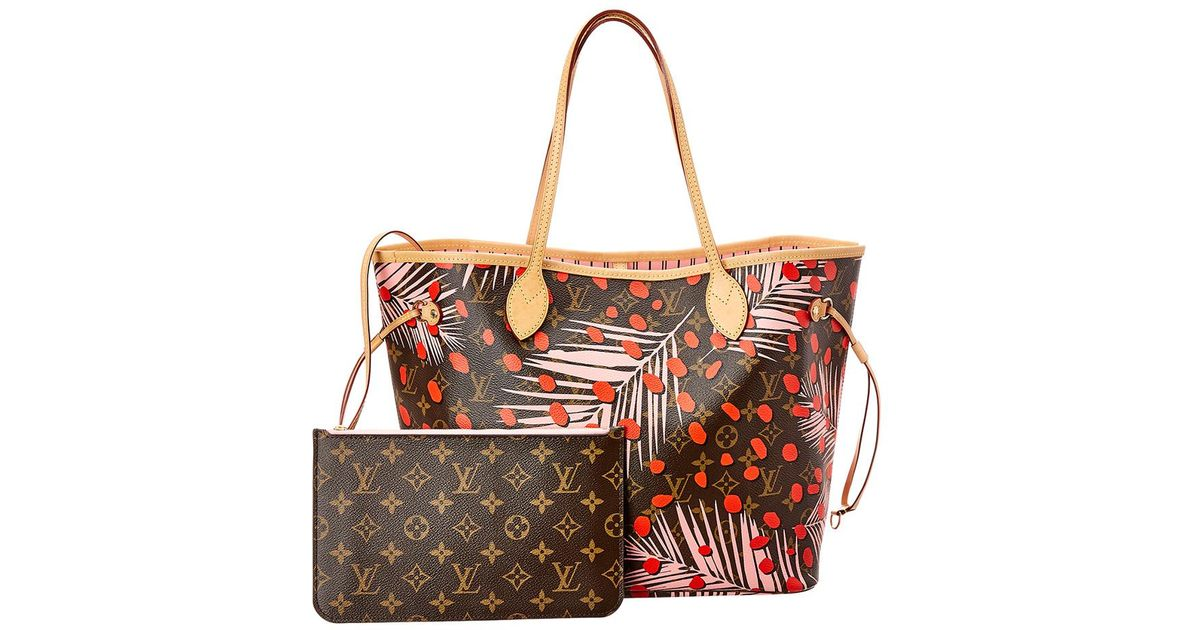 Lyst - Louis Vuitton Limited Edition Pink Jungle Monogram Canvas Neverfull  Mm Nm c9b357431b275
