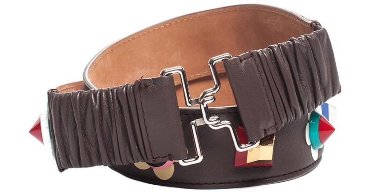 21ea136c Fendi - Brown Leather Studded Flower Applique Belt (size 34) - Lyst