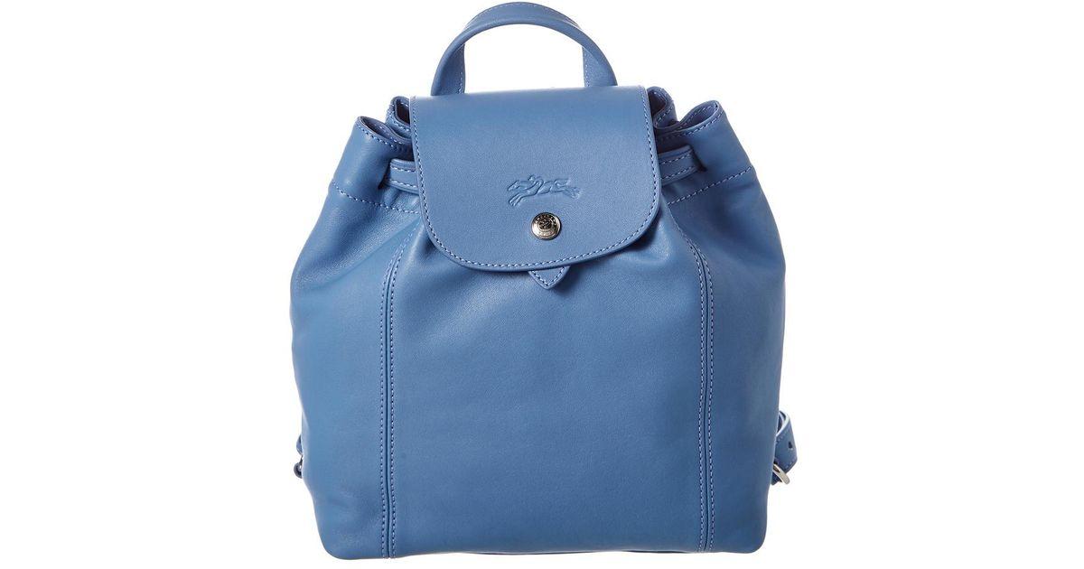 Longchamp Blue Le Pliage Cuir Xs Leather Backpack
