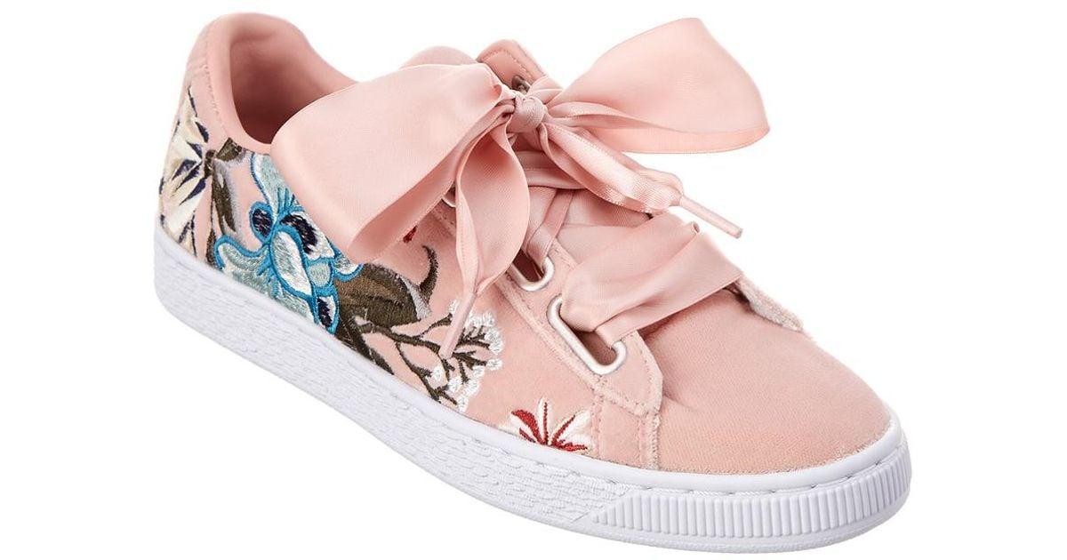 reputable site eebce 70ba7 PUMA - Pink Basket Heart Suede Sneaker - Lyst