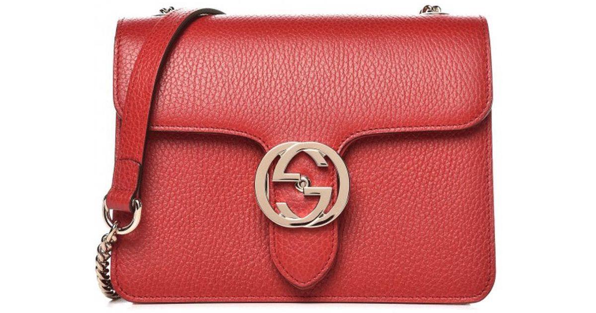 d281682db07 Gucci Red Leather Marmont Interlocking GG Crossbody Bag