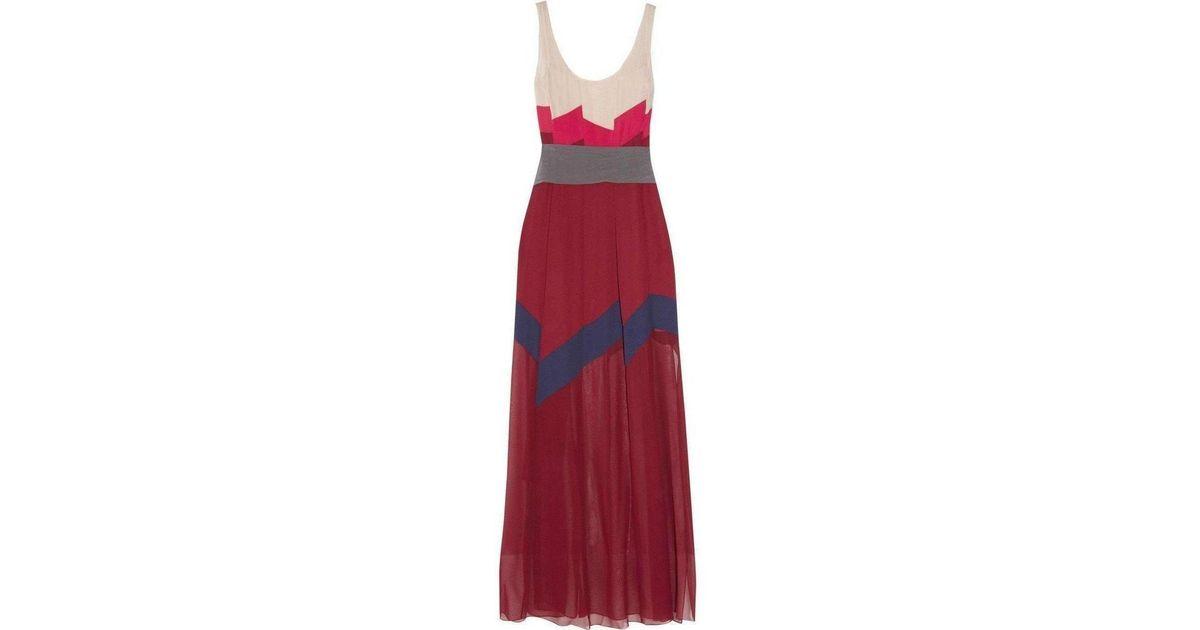 bfbd12882a Lyst - Bcbgmaxazria Bcbg Maxazria Runway Bon Voyage Color Block Silk Maxi  Dress in Red