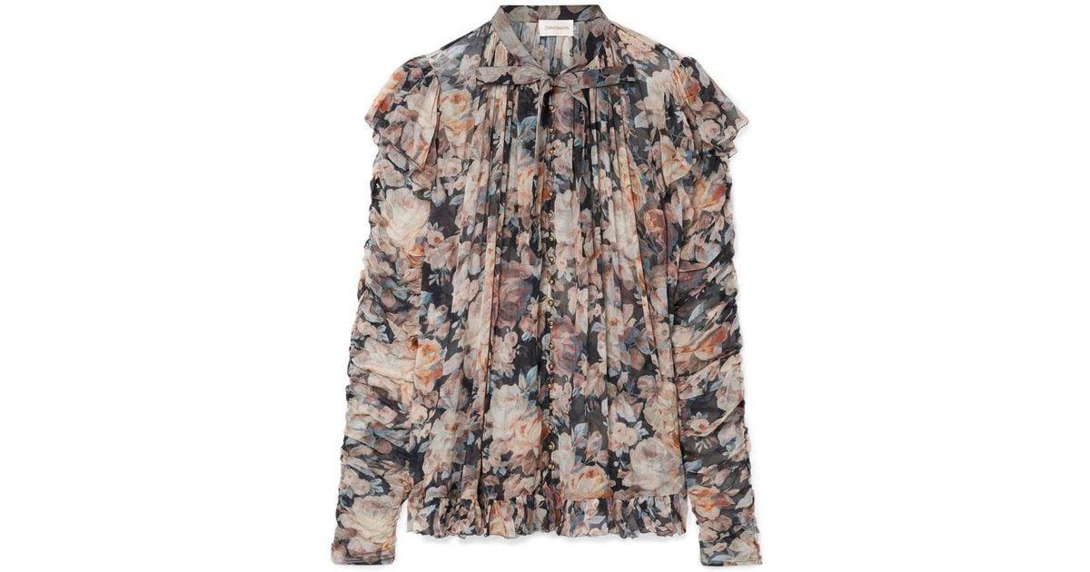 d7f442468979e1 Lyst - Zimmermann Tempest Frolic Ruffled Floral Print Silk Blouse