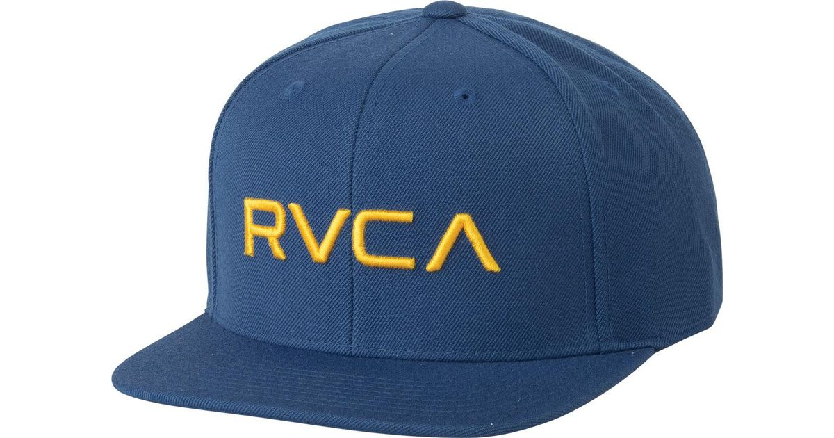 27d345a1 ... low price lyst rvca twill snapback iii hat in blue for men c26e0 cd91c
