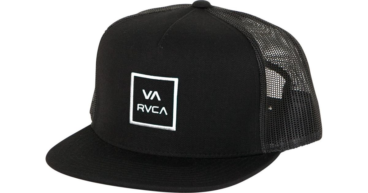 best loved a4a1a 76b87 ... shop lyst rvca va all the way trucker hat iii in black for men 9eb73  dbfe3
