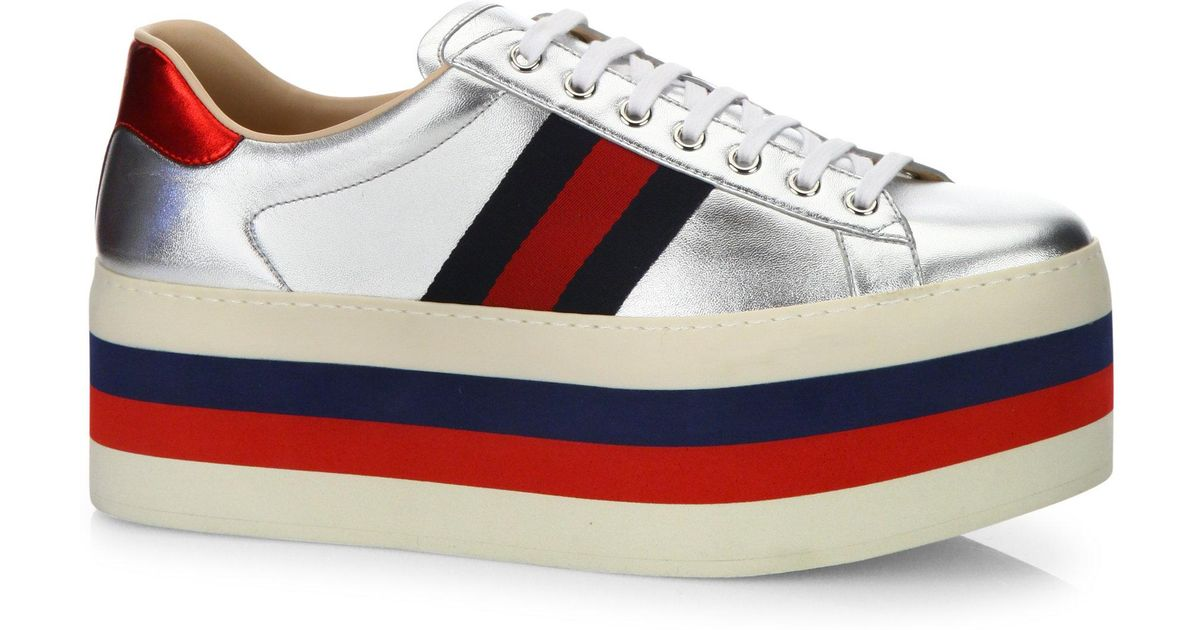 6fb800a1c73 Lyst - Gucci New Ace Metallic Leather Platform Sneakers in Gray
