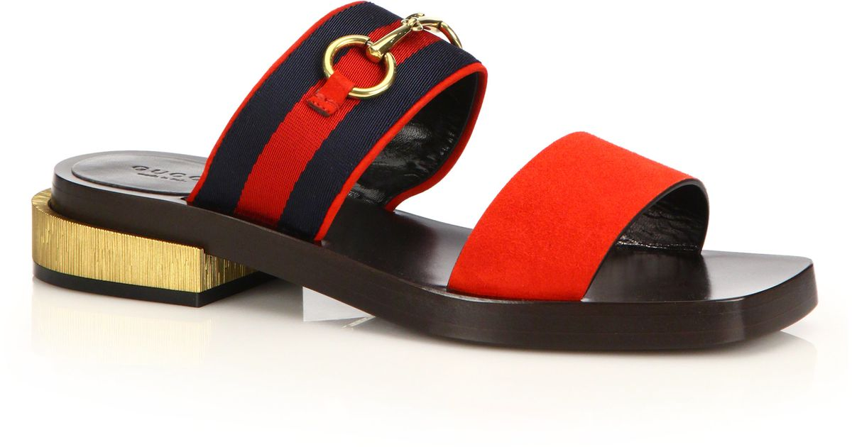 0749e5f6f99 Lyst - Gucci Querelle Suede and Satin Sandals in Red