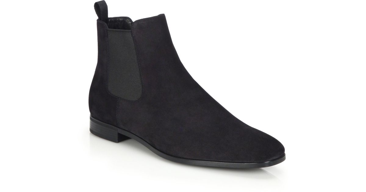 Prada Suede Chelsea Boots in Black for