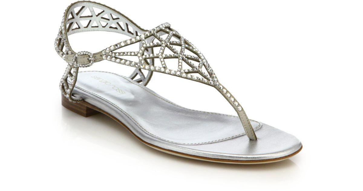8046a0680b6cb8 Lyst - Sergio Rossi Tresor Swarovski Crystal Flat Sandals in Metallic