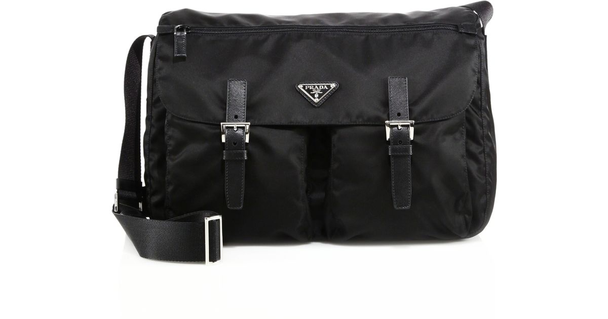 02b6e4d853ad ... usa lyst prada nylon leather messenger bag in black 4d98a e5a57