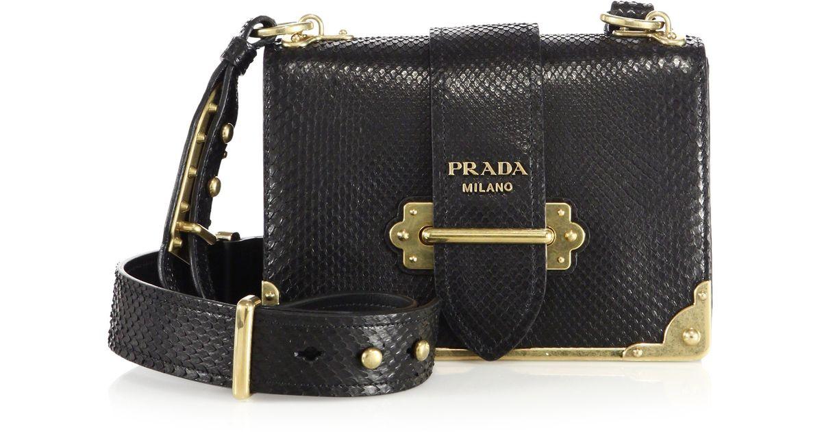 d5dc8c03de297f Prada Cahier Notebook Python Shoulder Bag in Black - Lyst