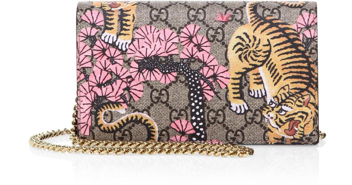 d167b8f2120a Gucci Bengal-print Gg Supreme Canvas Chain Wallet - Lyst